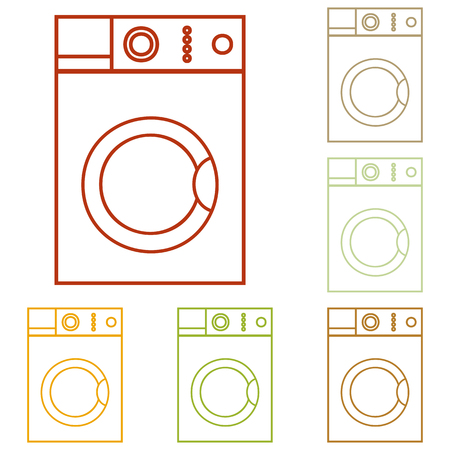 major household appliance: Washing machine sign. Colorful autumn set of icons. Illustration