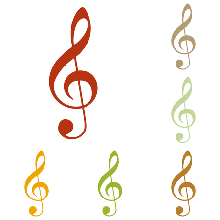 bass clef: Music violin clef sign. G-clef. Treble clef. Colorful autumn set of icons.