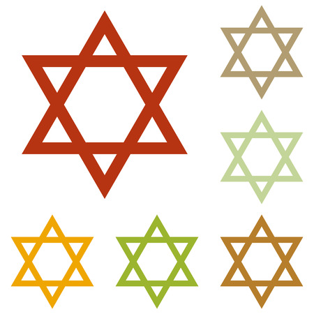 magen: Shield Magen David Star. Symbol of Israel. Colorful autumn set of icons.