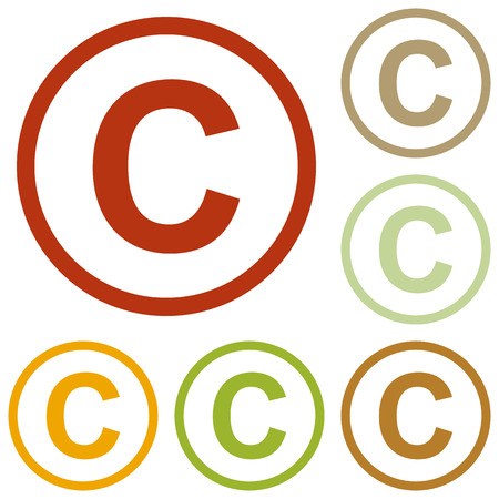 duplication: Copyright sign illustration. Colorful autumn set of icons.