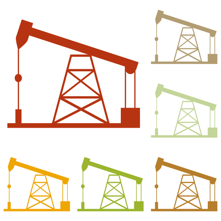 drilling rig: Oil drilling rig sign. Colorful autumn set of icons.
