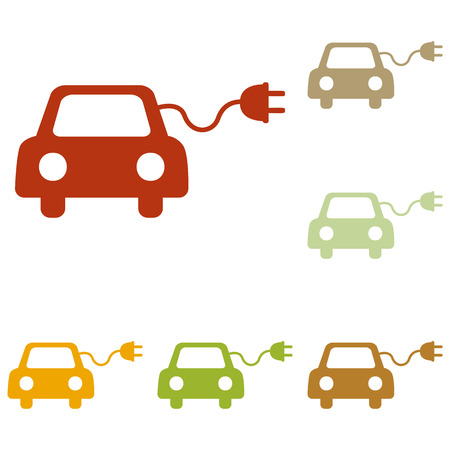 automobile industry: Eco electric car sign. Colorful autumn set of icons.