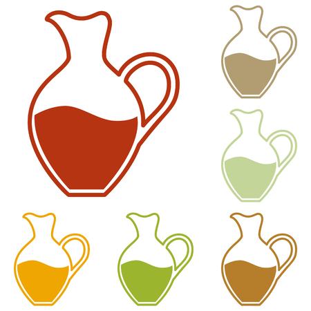 amphora: Amphora sign. Colorful autumn set of icons.