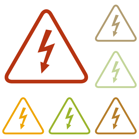 volte: High voltage danger sign. Colorful autumn set of icons.