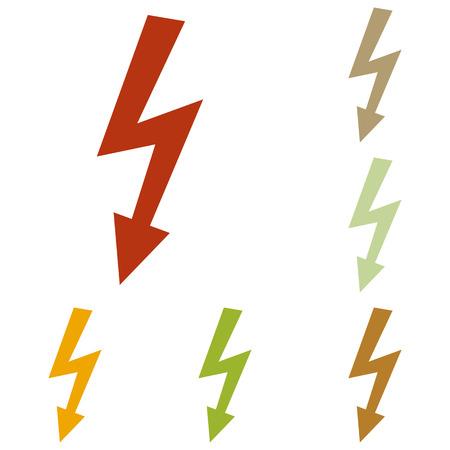 voltage danger: High voltage danger sign. Colorful autumn set of icons.