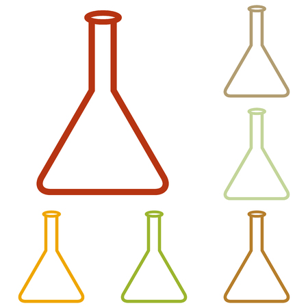 hypothesis: Conical Flask sign. Colorful autumn set of icons.