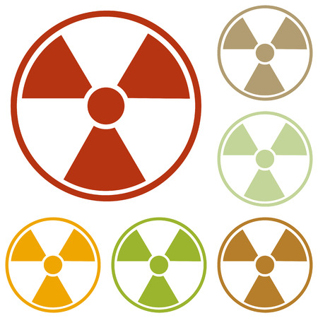 Radiation Round sign. Colorful autumn set of icons.