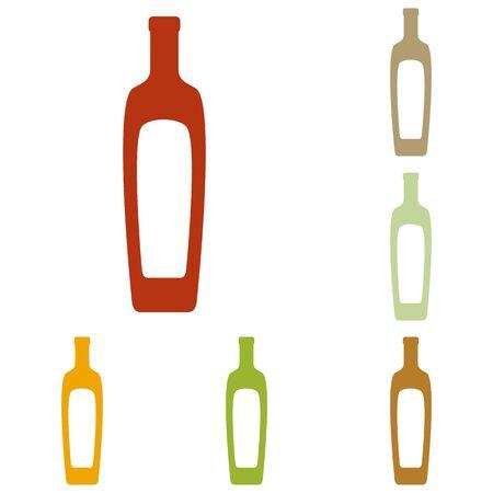 salad dressing: Olive oil bottle sign. Colorful autumn set of icons.