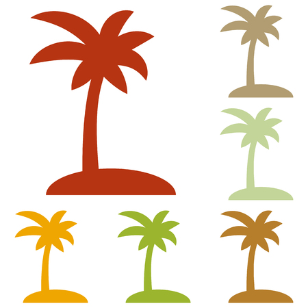 tree silhouettes: Coconut palm tree sign. Colorful autumn set of icons.