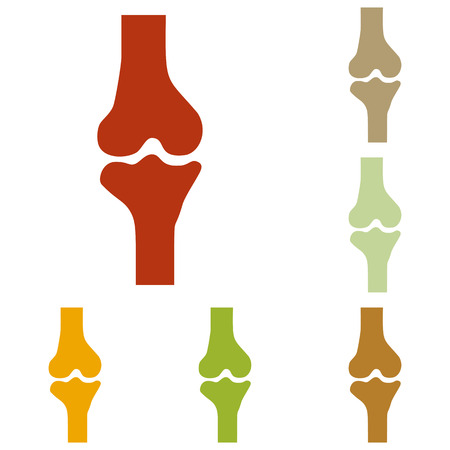 rheumatism: Knee joint sign. Colorful autumn set of icons.