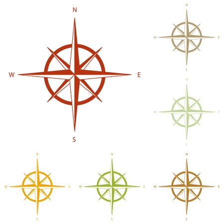 rosa vientos: El viento se levant� signo. conjunto de iconos de oto�o colorido. Vectores