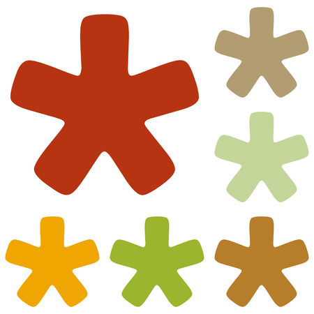 reference point: Asterisk star sign. Colorful autumn set of icons.