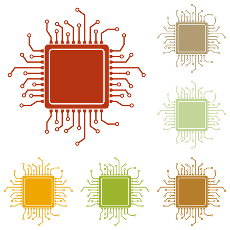 microelectronics: CPU Microprocessor illustration. Colorful autumn set of icons.