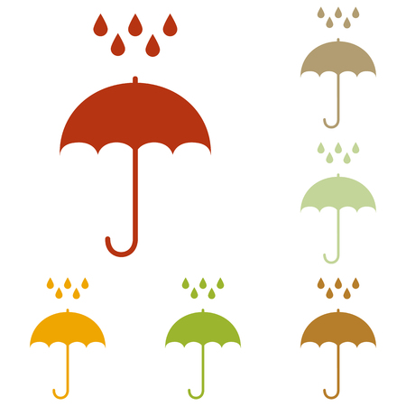 nylon: Umbrella with water drops. Rain protection symbol. Flat design style. Colorful autumn set of icons.