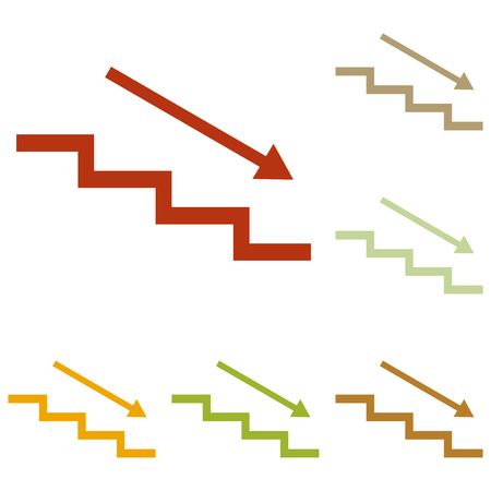 stair: Stair down with arrow. Colorful autumn set of icons.
