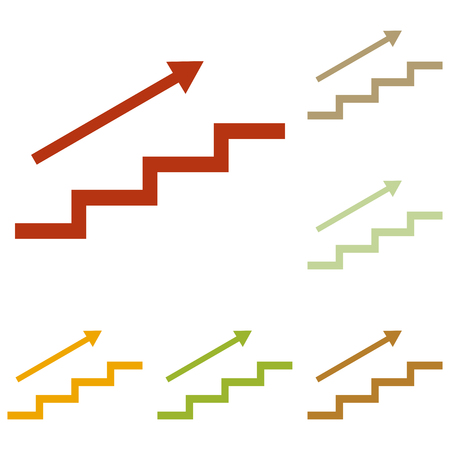 stair: Stair with arrow. Colorful autumn set of icons. Illustration