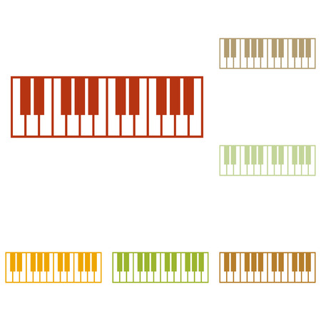 tons: Piano Keyboard sign. Colorful autumn set of icons. Illustration