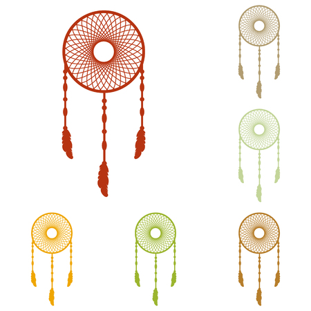 swelled: Dream catcher sign. Colorful autumn set of icons. Illustration