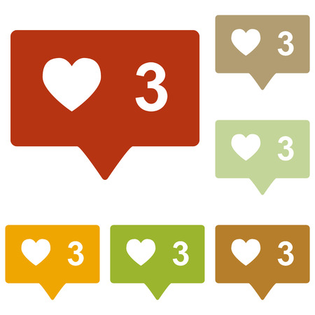 feedback link: Like and comment sign. Colorful autumn set of icons. Illustration