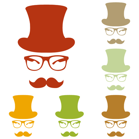 gent: Hipster accessories design. Colorful autumn set of icons.