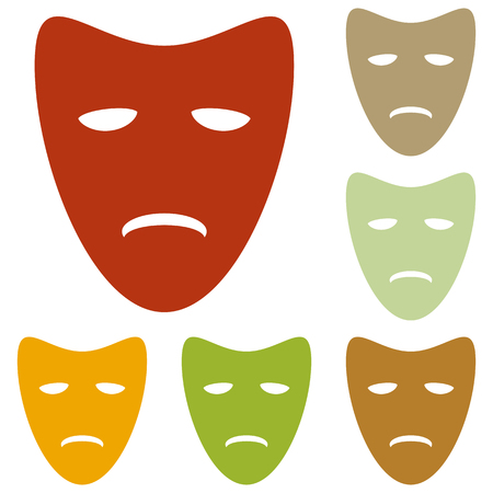 tragedy: Tragedy theatrical masks. Colorful autumn set of icons.