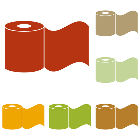 bath room: Toilet Paper sign. Colorful autumn set of icons. Illustration
