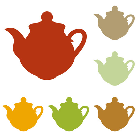 sign maker: Tea maker Kitchen sign. Colorful autumn set of icons. Illustration
