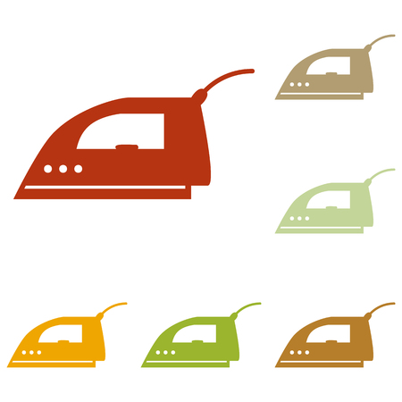 plug in: Smoothing Iron sign. Colorful autumn set of icons.