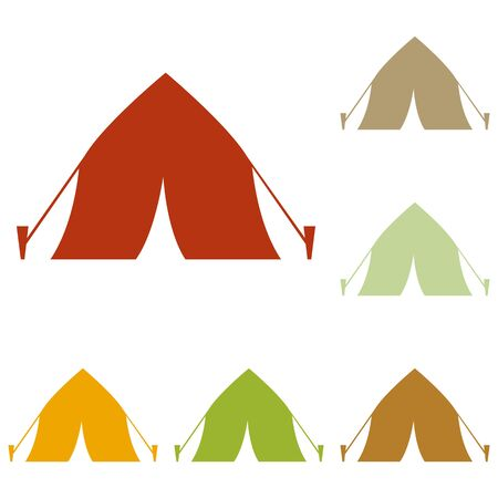 yellow adventure: Tourist tent sign. Colorful autumn set of icons.