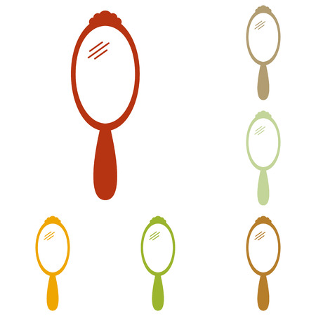 Hand Mirror sign. Colorful autumn set of icons. Illustration