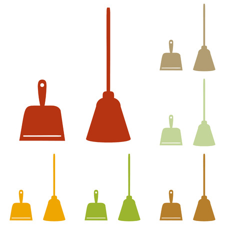 whisk broom: Dustpan vector sign. Scoop for cleaning garbage housework dustpan equipment. Colorful autumn set of icons. Illustration