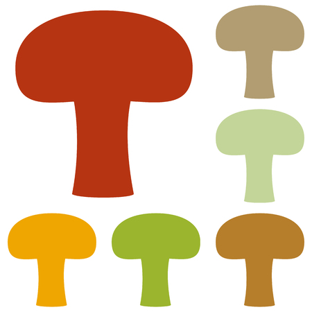 stipe: Mushroom simple sign. Colorful autumn set of icons.