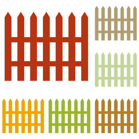 dissociation: Fence simple sign. Colorful autumn set of icons.