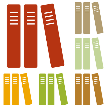 retain: Row of binders, office folders icon. Colorful autumn set of icons.