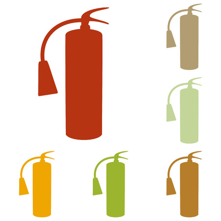 fire extinguisher sign: Fire extinguisher sign. Colorful autumn set of icons.