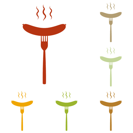 roast lamb: Sausage on fork sign. Colorful autumn set of icons.