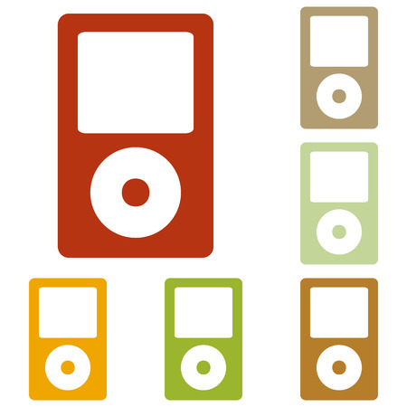 mp: Portable music device. Colorful autumn set of icons. Illustration