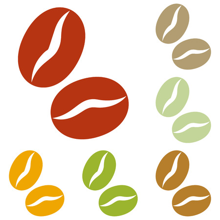 Coffee beans sign. Colorful autumn set of icons.