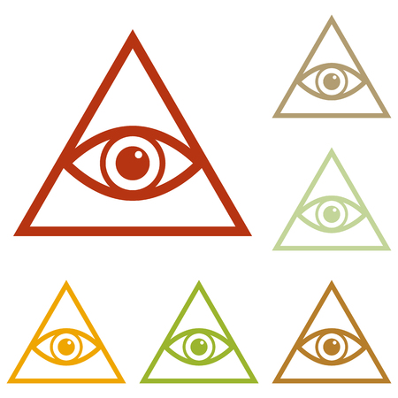 seeing: All seeing eye pyramid symbol. Freemason and spiritual. Colorful autumn set of icons. Illustration