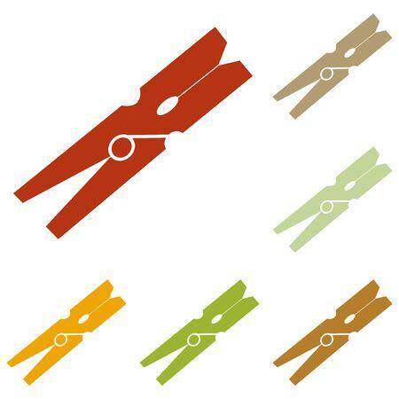 clothespeg: Clothes peg sign. Colorful autumn set of icons.