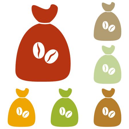 coffee bag: Coffee bag Icon. Coffee bag Vector. Coffee bag Icon Button. Colorful autumn set of icons.