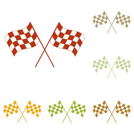 바람에 물결 치는 교차 체크 무늬 플래그 로고 모터 스포츠의 개념입니다. 화려한가 아이콘 집합입니다.