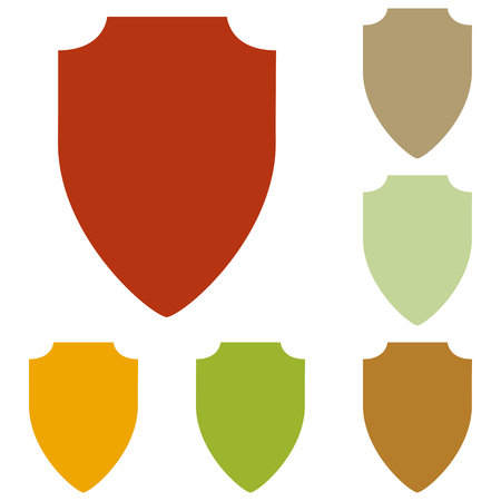honour guard: Shield sign illustration. Colorful autumn set of icons.