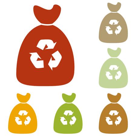 segregate: Trash bag icon. Colorful autumn set of icons. Illustration