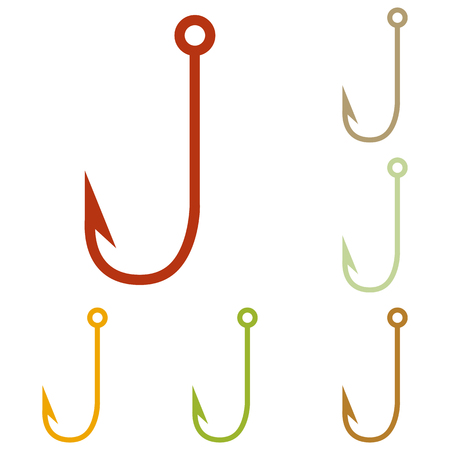 fishhook: Fishing Hook sign illustration. Colorful autumn set of icons. Illustration