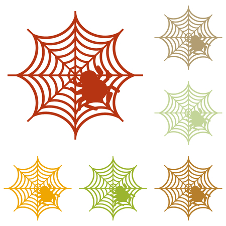 spidery: Spider on web illustration Colorful autumn set of icons.