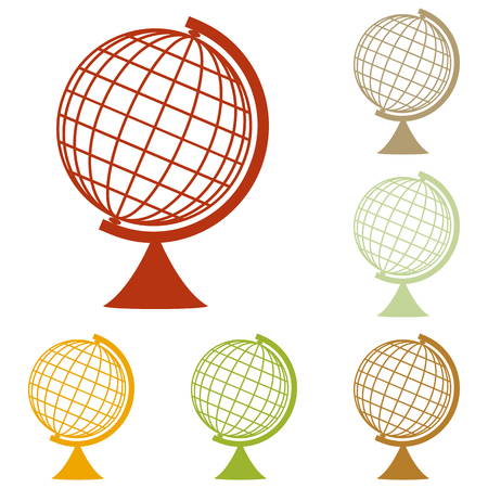 globe  the terrestrial ball: Earth Globe sign. Colorful autumn set of icons.
