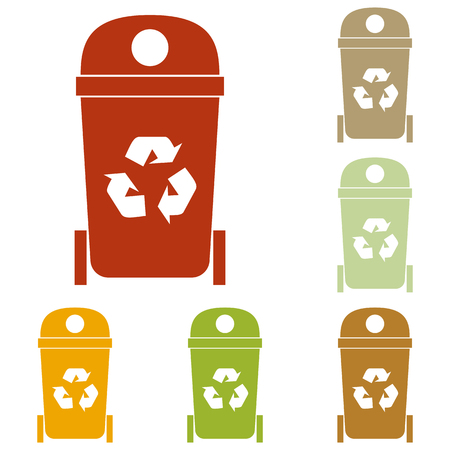 trashcan: Trashcan sign illustration. Colorful autumn set of icons. Illustration