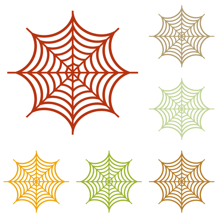spidery: Spider on web illustration. Colorful autumn set of icons.