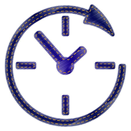 shop opening hours: Service and support for customers around the clock and 24 hours. Jeans style icon on white background. Illustration